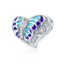 1pcs butterfly CZ European Charm round Beads Fit 925 silver Bracelet Necklace #