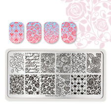 BORN PRETTY Nail Stamping Plates Rectangle Rose Valentine's Day Image Templates