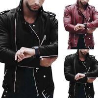 Fashion Mens Leather Biker Jacket Long Sleeve Stand Collar Zip Motorcycle Jacket