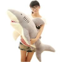 "39"" Plush Big Shark Jaws Stuffed Animals Toys Doll Pillow Gray Birthday Gift New"