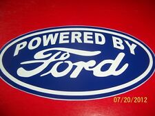 """4"""" X 7"""" POWERED BY FORD Logo  (NEW) Blue and White VINYL Sticker Vintage"""