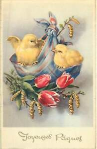 Easter greetings illustration Postcard chicken poultry tulips bouquet