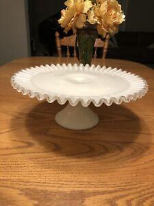 """13"""" Fenton SILVER CREST Milk Glass Cake Stand"""