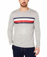 $34.00 Tommy Hilfiger Men's Modern Essentials Logo Stripe Shirt, Gray, Size XL