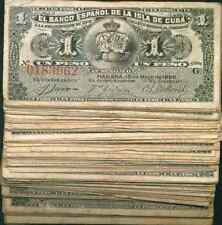 SPAIN COLONIAL BUNDLE 100x 1 PESO 1896. SCARCE. FINE CONDITION. 100 PIECES 5