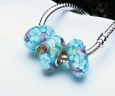 2pcs Lampwork Glass Loose Spacer Beads Fit European Style Charm Bracelet Jewelry