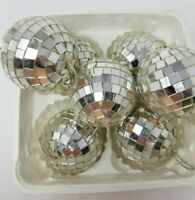 Vintage Set of 7 Christmas Ornaments Mirror Glass Disco Ball