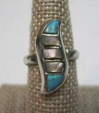 Vintage Sterling Silver Turquoise and Abalone Ladies Ring 5.08g Sz 6