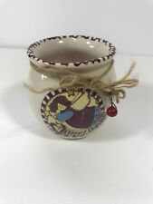 Happy Holidays Primitive Small Jar Holder Angel Twine Tie Christmas Home Decor