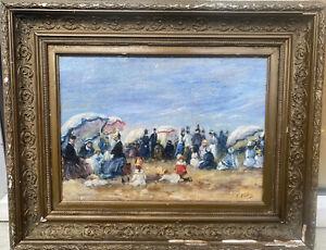 Framed 1920s French impressionist oil painting Figures On Beach - Eugene Boudin