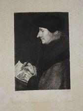 Holbein Hans (1497-1543) GRANDE GRAVURE PORTRAIT ERASME EUROPE HENRI LEFORT 1870