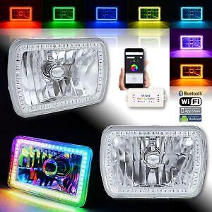 "7x6"" Bluetooth RGB SMD LED Color Chasing Halo Shift Angel H4 Bulb Headlight Pair"
