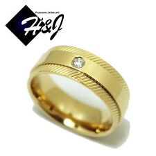 MEN WOMEN Stainless Steel 8mm Silver/Gold Eternity CZ Wedding Band Ring*R68