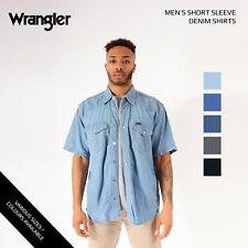 Vintage Mens Wrangler Short Sleeved Denim Shirts Xs, S, M, L, Xl, Xxl