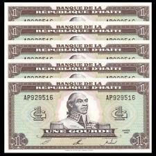 Lot 5 PCS, Haiti 1 Gourdes, 1992, P-259, UNC, Banknotes
