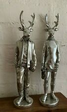 Deer Couple Decorative Silver Statues (Man and Woman)