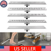 Stainless Steel Bathroom Floor Drain Linear Long Shower Waste Drainer Grate 80cm