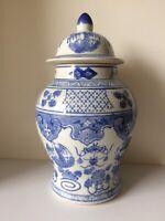 Vintage Chinese Blue & White Porcelain Dragon & phoenix Design Ginger Jar