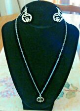Claddagh Looped Triquetra Necklace And Earrings Set Silvertone