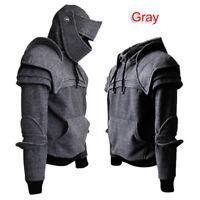 Men Medieval Vintage Warrior Soldier Sweatshirt Knight Mask Armor Hoodies Jacket
