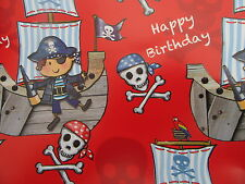 WRAPPING PAPER 2 SHEETS OF GIFT WRAP GIFT TAG BOY PIRATE SHIP AHOY RED  BIRTHDAY