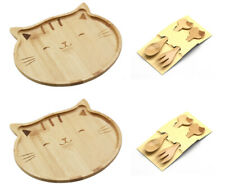 Bamboo Food Snack Plate Tray Kitty Cat Design and Kids Spoons&Forks 4572+4582x2