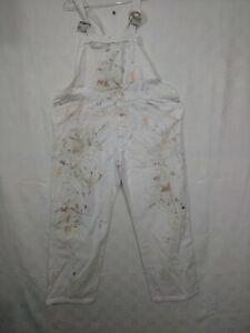 salopette de travail blanche tachée de peinture en coton /d167