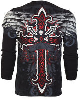 ARCHAIC by AFFLICTION Men LONG SLEEVE THERMAL Shirt RED FLAG Cross Biker $58