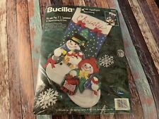"Christmas Bucilla Felt Applique Stocking Kit,MR. & MRS. F.T. SNOWMAN,83386,18"""