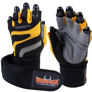 Weight Lifting Gloves Mens Gym Fitness Training   Bodybuilding Wrist Long Strap