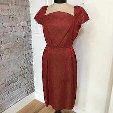 Vintage Dress Red Brocade Wiggle Cap Sleeve