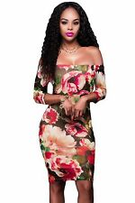 Mini Abito aderente stampato Floreale Nudo scollo Bodycon Floral Print Dress M