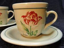 Tienshan Stoneware Botanical Garden Tulip Cup and Saucer Set  EXCELLENT