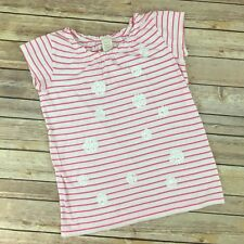 J Crew Crewcuts T-Shirt Girls Size 12 Pink White Striped Sequin Cotton