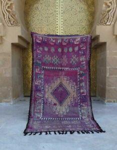 "Old Vintage Moroccan Handmade Boujad Boujaad Rug Berber Wool Rug 8'3"" x 4'3"""