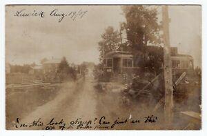 Canada ONT Ontario - Keswick 1907 Tram / Trolley Crossing Road - RPPC Postcard