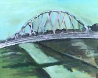 Suspended Bridge Original Oil Painting On Canvas 11x14 Signed By Artist Rudy M