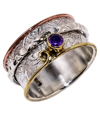 Solid 925 Sterling Silver African Amethyst Triple Tone Spinner Handmade Ring LS-