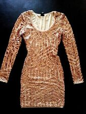 NWT Bebe beige nude rose gold sequin mesh sparkly club top dress XS 0 2 luxury