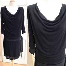 Size 14 Evening Dress. Black Shimmer stretch - Cowl Neck. Quinze heures trente