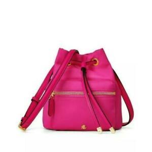 New Ralph Lauren Nylon Mini Debby Drawstring Bucket Bag Hot Fuschia Pink