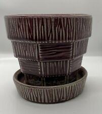McCoy Pottery Planter Purple Basket Weave Design