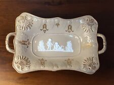 Antique Pate-Sur-Pate HANDLED SERVING DISH BOWL with Putti Scenes