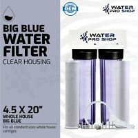 """2 Stage Clear Big Blue Whole House Water Filtration System - 1"""" Ports, NSF"""