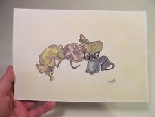 *Original Watercolor Painting Dianne Heap Sphynx I'm Still Awake Coa