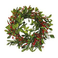 "Silk Plants - Wreath of Olive Leaves with Red Berries, 22"" in diameter"