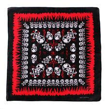 100% Cotton Bandana with Skulls Crossbones Flames Head Band Head Wear Neck Wrist