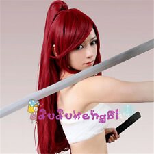 Fairy Tail Elza Scarlet Yoko Long Red Cosplay Wig with Ponytail Party Hair Cute
