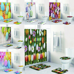 Easter Eggs Fabric Shower Curtain Set Spring Flowers Toilet Cover Bath Mat Pad