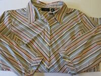 apostrophe Women's 20W 3/4 sleeve striped multi color button up shirt